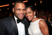Anthony Anderson and Regina King at the 67th Emmy Awards.