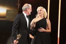 Richard Jenkins and Lady Gaga backstage at the 67th Emmy Awards.