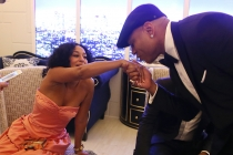 Tracee Ellis Ross and LL Cool J backstage at the 67th Emmy Awards.
