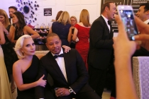 Lady Gaga and Terrence Howard backstage at the 67th Emmy Awards.