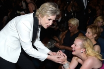 Jane Lynch and Elisabeth Moss at the 67th Emmy Awards.