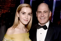 Kiernan Shipka and Matthew Weiner at the 67th Emmys Governors Ball.