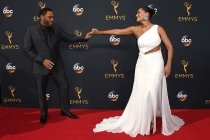 Anthony Anderson and Tracee Ellis Ross on the red carpet at the 2016 Primetime Emmys.