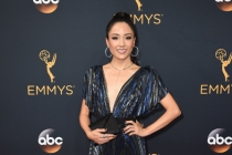 Constance Wu on the red carpet at the 2016 Primetime Emmys.