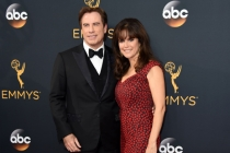 John Travolta and Kelly Preston on the red carpet at the 2016 Primetime Emmys.