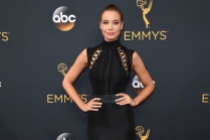 Stephanie Corneliussen on the red carpet at the 2016 Primetime Emmys.