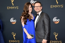 Brittany Lopez and Christian Slater on the red carpet at the 2016 Primetime Emmys.