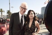 Brad Hall and Julia Louis-Dreyfus on the red carpet at the 2016 Primetime Emmys.