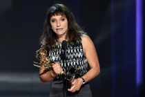 Susanne Bier accepts her award at the 2016 Primetime Emmys.