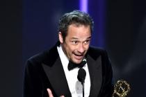 D.V. DeVincentis accepts his award at the 2016 Primetime Emmys.
