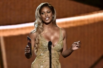 Laverne Cox presents an award at the 2016 Primetime Emmys.