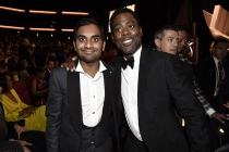 Aziz Ansari and Chris Rock pose in the audience at the 2016 Primetime Emmys.