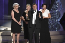 """Steven Moffat and crew """"Sherlock: The Abominable Bride (Masterpiece) accept an award at the 2016 Primetime Emmys."""