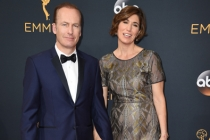 Bob Odenkirk and Naomi Odenkirk on the red carpet at the 2016 Primetime Emmys.