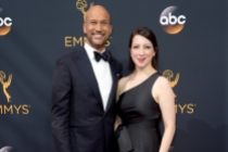 Keegan-Michael Key and Elisa Pugliese on the red carpet at the 2016 Primetime Emmys.