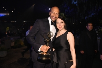 Keegan-Michael Key and Elisa Pugliese at the 68th Emmys Governors Ball.