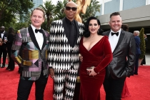 Carson Kressley, RuPaul, Michelle Visage, and Ross Mathews on the red carpet at the 2017 Primetime Emmys.
