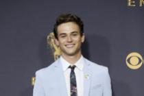 Brandon Flynn on the red carpet at the 69th Primetime Emmy Awards