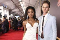 Ajiona Alexus and Brandon Flynn on the red carpet at the 2017 Primetime Emmys.