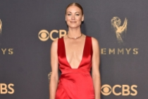 Yvonne Strahovski on the red carpet at the 2017 Primetime Emmys.