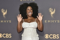 Uzo Aduba on the red carpet at the 2017 Primetime Emmys.