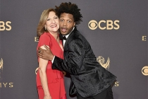 Lesli Linka Glatter and Jermaine Fowler on the red carpet at the 2017 Primetime Emmys.
