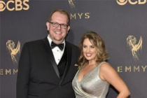 Dominic Burgess and Sara Cravens on the red carpet at the 2017 Primetime Emmys.