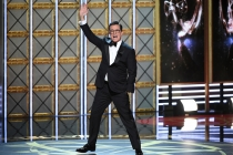 Host Stephen Colbert on stage at the 2017 Primetime Emmys.
