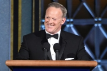 Sean Spicer on stage at the 2017 Primetime Emmys.