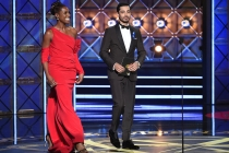 Issa Rae and Riz Ahmed on stage at the 2017 Primetime Emmys.