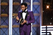 Donald Glover accepts an award at the 2017 Primetime Emmys.