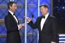 Seth Meyers and James Corden on stage at the 2017 Primetime Emmys.
