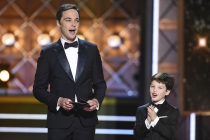 Jim Parsons and Iain Armitage on stage at the 2017 Primetime Emmys.