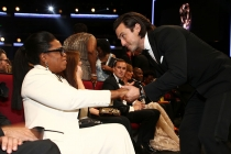 Oprah Winfrey and Milo Ventimiglia appear in the audience at the 69th Primetime Emmy Awards