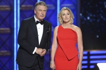 Alec Baldwin and Edie Falco on stage at the 2017 Primetime Emmys.
