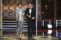 Sarah Paulson and Jason Bateman on stage at the 2017 Primetime Emmys.