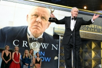 John Lithgow accepts his award at the 69th Primetime Emmys