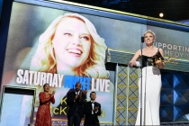 Kate McKinnon accepts her award at the 69th Primetime Emmys.