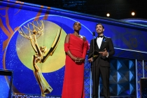 Issa Rae and Riz Ahmed present an award on stage at the 69th Primetime Emmys.