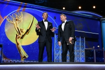 James Cordon and Seth Myers present an award at the 69th Primetime Emmys.