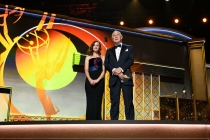 Alexis Bledel and Gerald McRaney present an award at the 69th Primetime Emmys.