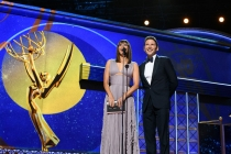 Rashida Jones and Mark Feuerstein on stage at the 69th Emmy Awards.