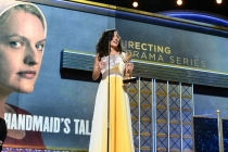 Reed Morano accepts an award at the 69th Emmy Awards.