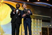 Craig Robinson and Adam Scott present an award at the 69th Primetime Emmys.