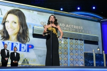 Julia Louis-Dreyfus accepts her award at the 69th Emmy Awards.