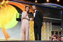 Jessica Biel and Joseph Fiennes present an award at the 69th Primetime Emmys.