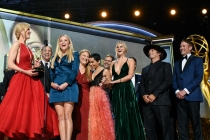 The team from Big Little Lies accepts their award at the 69th Emmy Awards.