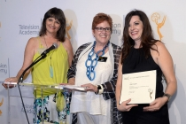 Television Academy governors Terry Ann Gordon and Sue Bub present a certificate to Jenny Eagan of Olive Kitteridge at The 9th Annual Outstanding Art of Television Costume Design Exhibition at the FIDM Museum & Galleries, Saturday, July 18, 2015, in Los An
