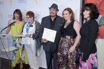 Television Academy governors Terry Ann Gordon and Sue Bub present certificates to Salvador Perez, Ive Heather Thaide, and Gala Autumn of The Mindy Project at The 9th Annual Outstanding Art of Television Costume Design Exhibition at the FIDM Museum & Galle