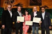 Television Academy governor Tim Gibbons, D. V. DiVincentis, Alexis Martin Woodall, Brad Simpson, and Television Academy governor Hayma Washington at the producers nominee reception, September 15, 2016, at the Montage in Beverly Hills, California.